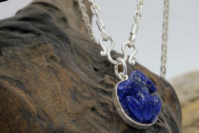 Lapis Frog Pendant with chain