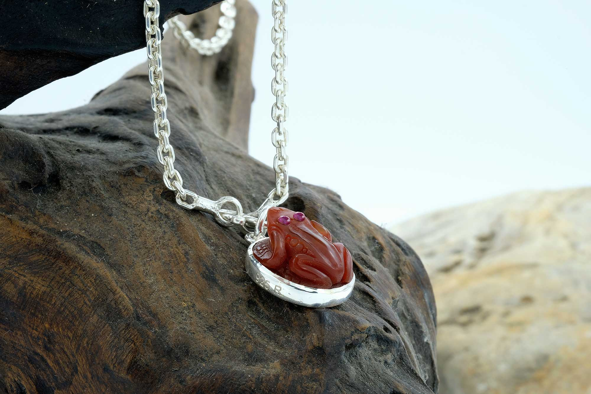 Red Agate Frog Pendant with chain
