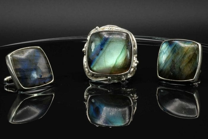 Square Labradorite Ring & cufflinks set- Regnas Jewelry