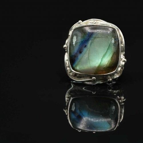 Square Labradorite Ring - Regnas Jewelry