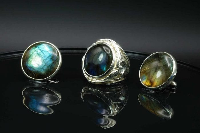 Art Deco Labradorite ring and cufflinks set