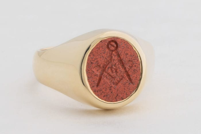 Gold Red Jasper Ring