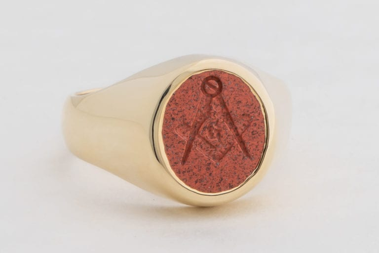 Gold Red Jasper Ring