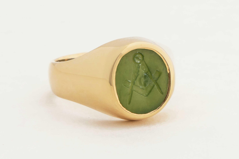 gold jade masonic ring