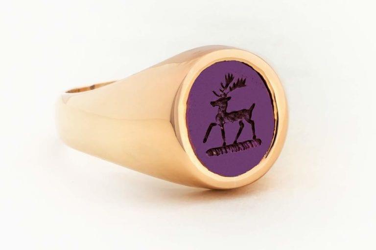 Gold Amethyst Signet Ring