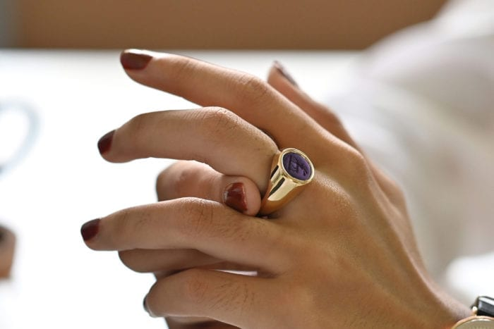 Gold Amethyst Signet Ring
