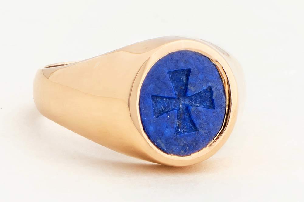 14kt Gold Lapis Signet Ring