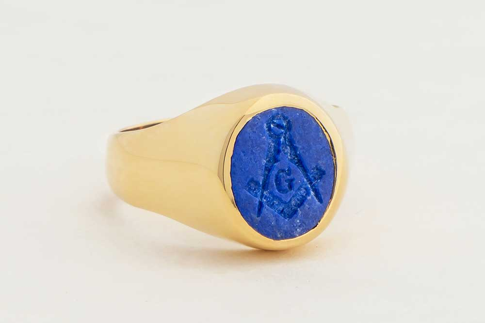 Gold Lapis Ring - Mason set square and compass