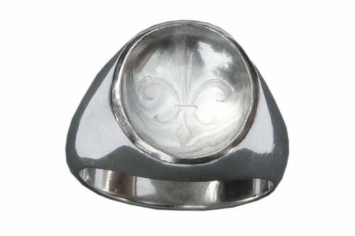 Rock Crystal Ring - Fleur De Lys - Sterling Silver 925