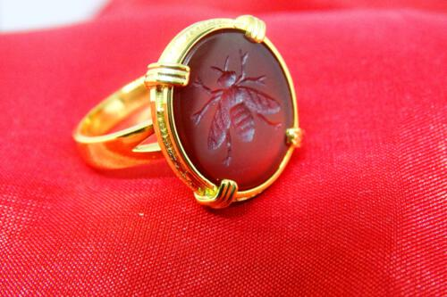 Red Agate Bee ring