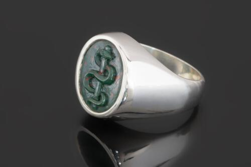 Rod Of Asclepius Bloodstone Ring