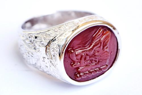 Red Agate boar's head ring
