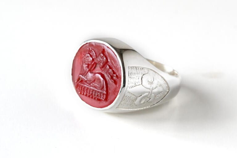 Lamb Of God Ring Red Agate