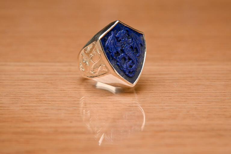 Dragon Ring Lapis Shield Shape