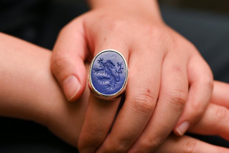 Engraved Lapis Lazuli Lion Ring