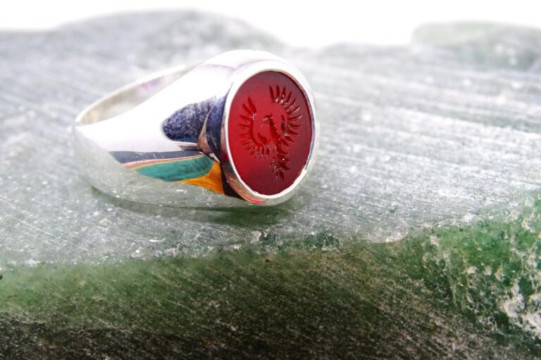 Small Engraved Phoenix Ring