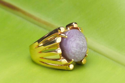 Unique Pink Sapphire Ring - Gold Plated Sterling Silver