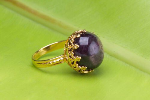 Unique Star Ruby Ring - Gold Plated Sterling Silver