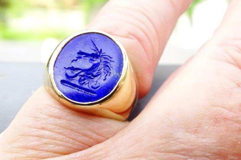 Lapis Unicorn Family Crest Ring