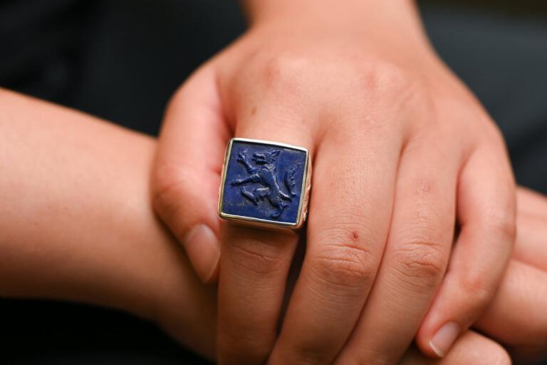 WOLF RING LAPIS CARVED SQUARE