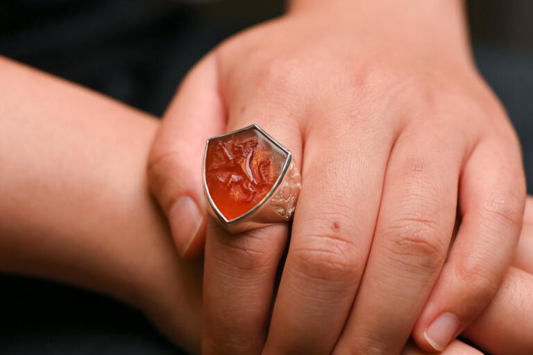 Wolf Ring Red agate Shield Shape