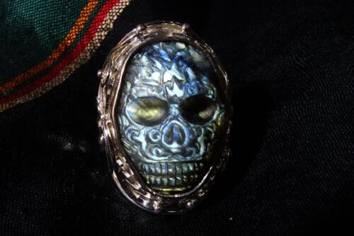 Aztec Labradorite Skull Ring