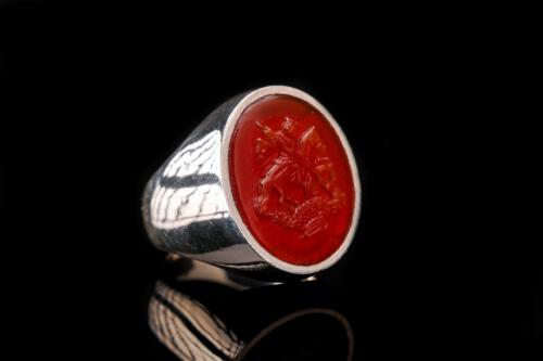 Red Agate St George Ring