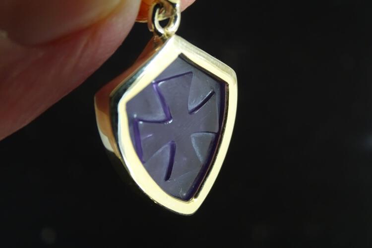 Amethyst Templar Cross Pendant