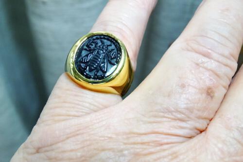 Black Onyx Carved Bee Ring