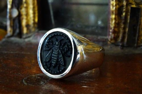 Black Onyx Bee Ring - Sterling Silver 925