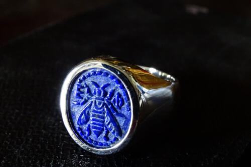 Lapis Lazuli Bee Ring – Sterling Silver 925