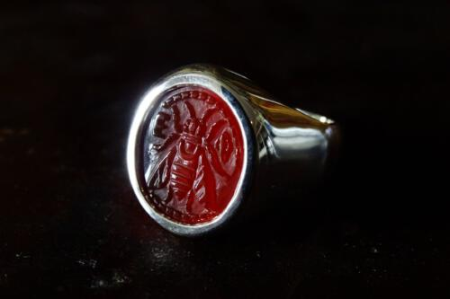Red Agate Bee Ring – Sterling Silver 925