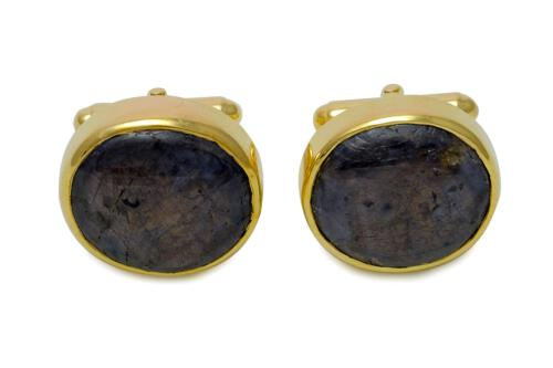 Black Sapphire Cufflinks - Gold Plated Sterling Silver 925