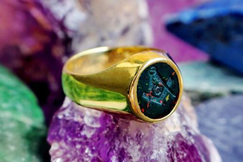 Small Bloodstone Masonic Ring