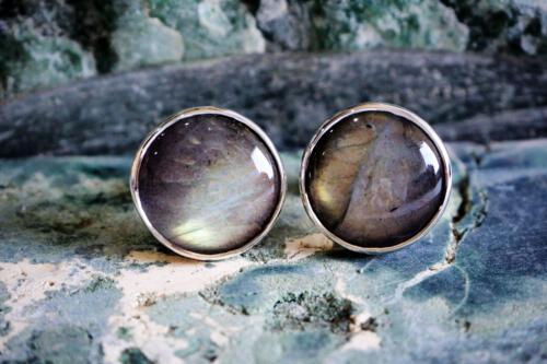 Round Framed Labradorite Cufflinks - Sterling Silver 925