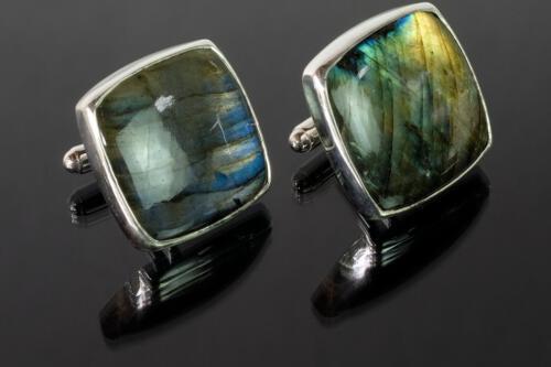 Labradorite Square Cufflinks - Sterling Silver 925