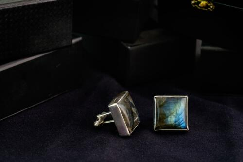 Square Labradorite Cufflinks - Sterling Silver 925