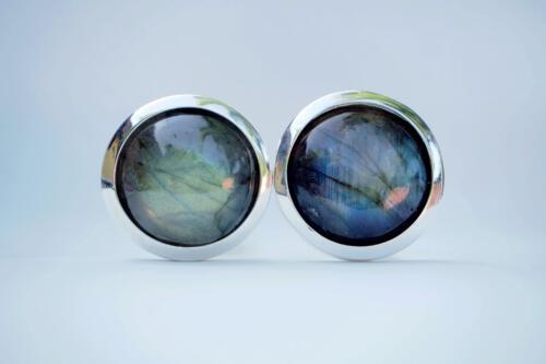 Framed Labradorite Cufflinks -Roundels - Sterling Silver 925