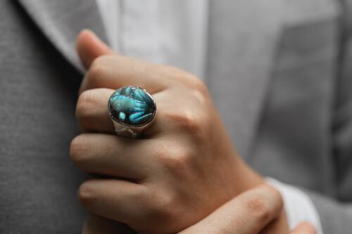 Labradorite Frog Ring - Fleur-De-Lis Shoulders - Sterling Silver