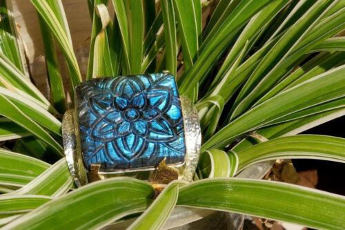 Square Labradorite Ring -Unique Design - Gold Plated Sterling Silver 925