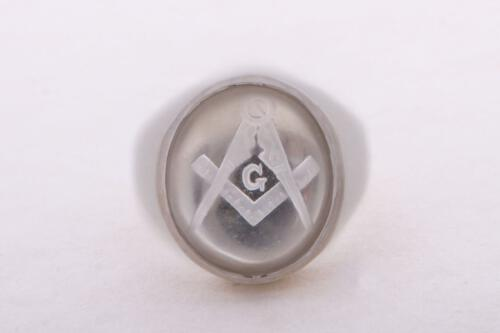 Masonic Ring - Crystal Set Square And Compass - Sterling Silver