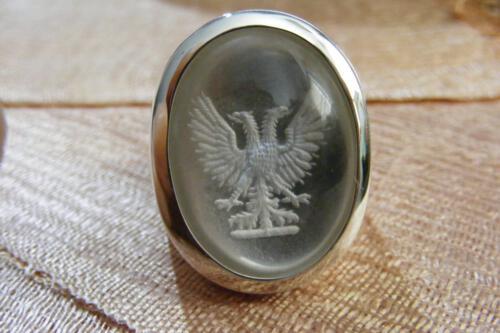 Rock Crystal Heraldic Eagle Ring - Sterling Silver