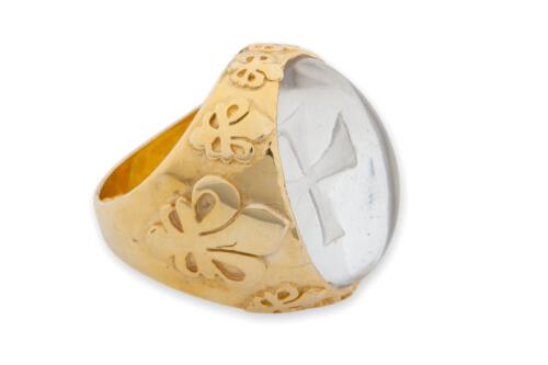 Rock Crystal Templar Cross Ring - Gold Plated Sterling Silver