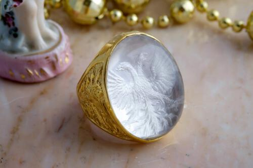 Rock Crystal Ring - Heraldic Eagle Family Crest - Gold Plated Sterling Silver