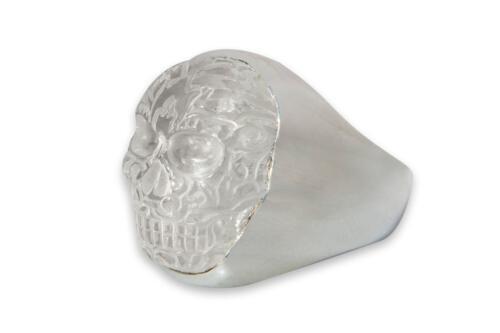 Rock Crystal Aztec Skull Ring - Sterling Silver