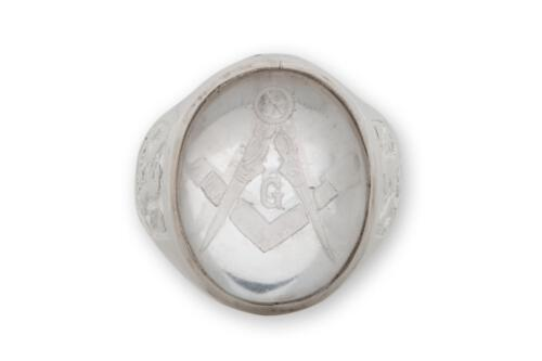 Rock Crystal Masonic Ring - Set Square And Compass - Sterling Silver