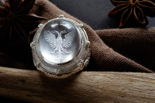 Rock Crystal Eagle Ring - Family Crest - Sterling Silver