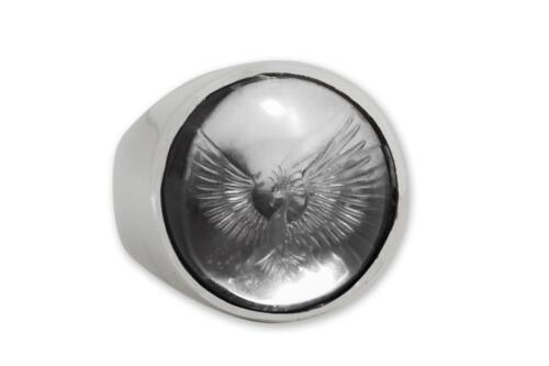 Round Rock Crystal Ring - Phoenix Rising - Sterling Silver