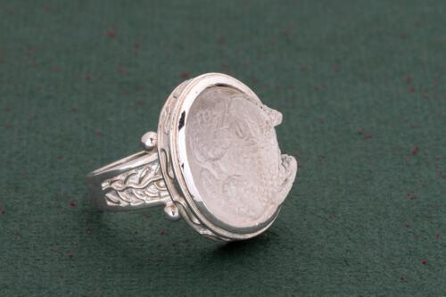 Frog Ring - Rock Crystal - Sterling Silver