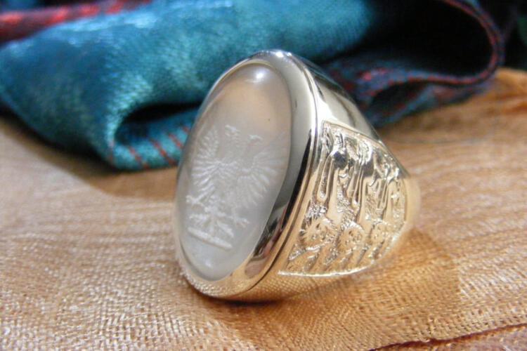 Sub Engraved Rock Crystal Ring - Heraldic Eagle - Lion Shoulders - Sterling Silver